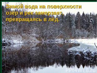 Зимой вода на поверхности озёр и рек замерзает, превращаясь в лёд.
