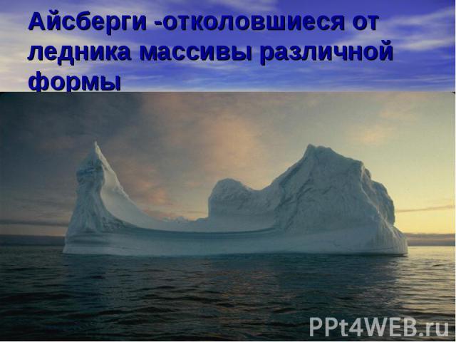 Айсберги -отколовшиеся от ледника массивы различной формы