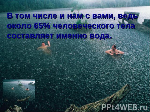 В том числе и нам с вами, ведь около 65% человеческого тела составляет именно вода.