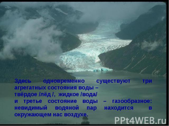 Здесь одновременно существуют три агрегатных состояния воды – твёрдое /лёд /, жидкое /вода/и третье состояние воды – газообразное: невидимый водяной пар находится в окружающем нас воздухе.