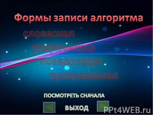 Формы записи алгоритмасловеснаяграфическаяпсевдокодыпрограммная
