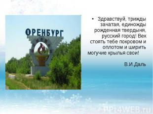 Здравствуй, трижды зачатая, единожды рожденная твердыня, русский город! Век стоя