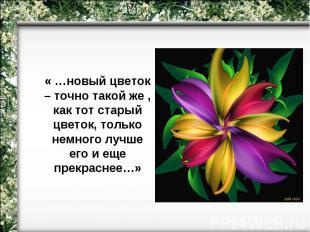« …новый цветок – точно такой же , как тот старый цветок, только немного лучше е