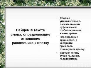 Найдем в тексте слова, определяющие отношение рассказчика к цветкуСлова с уменьш