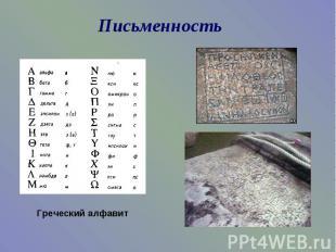ПисьменностьГреческий алфавит