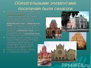 Обязательными элементами поселения были синагогисторона, противоположная входу,