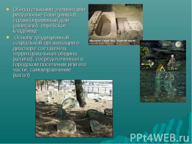 Обязательными элементами ритуальные бани (миква), странноприимный дом (шпиталь), еврейское кладбище. Основу традиционной социальной организации в диаспоре составляла территориальная община (кегила), сосредоточенная в городском поселении или его част…