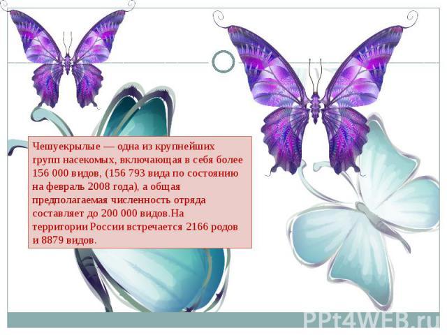 Чешуекрылые — одна из крупнейших группнасекомых, включающая в себя более 156 000 видов, (156 793 вида по состоянию на февраль2008 года), а общая предполагаемая численность отряда составляет до 200000 видов.На территорииРоссии встречается 2166 ро…