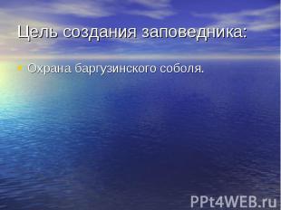 Цель создания заповедника:Охрана баргузинского соболя.