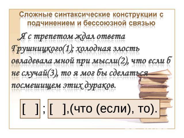 Сложные синтаксические конструкции с подчинением и бессоюзной связьюЯ с трепетом ждал ответа Грушницкого(1); холодная злость овладевала мной при мысли(2), что если б не случай(3), то я мог бы сделаться посмешищем этих дураков.