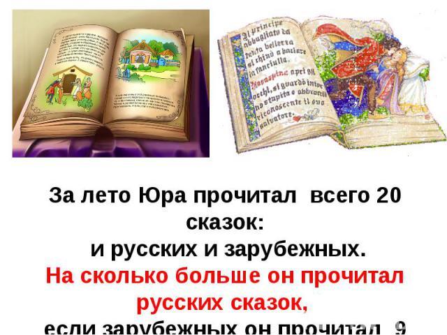 За лето Юра прочитал всего 20 сказок: и русских и зарубежных.На сколько больше он прочитал русских сказок, если зарубежных он прочитал 9 сказок ?