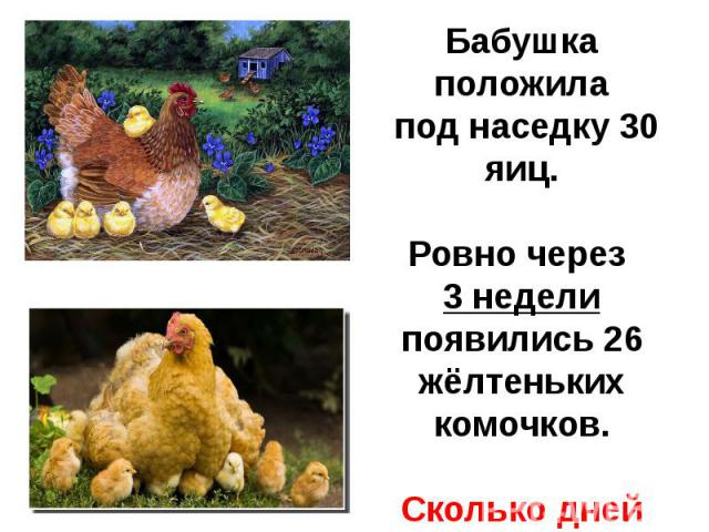 Бабушка положила под наседку 30 яиц.Ровно через 3 недели появились 26 жёлтеньких комочков.Сколько дней высиживала цыплят наседка?