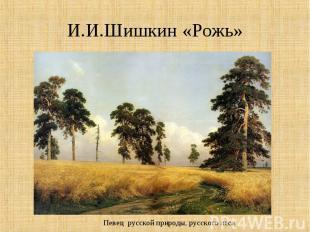 И.И.Шишкин «Рожь»Певец русской природы, русского леса