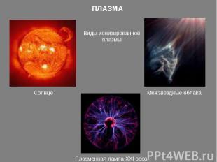 ПЛАЗМАВиды ионизированной плазмыСолнцеМежзвездные облакаПлазменная лампа XXI век
