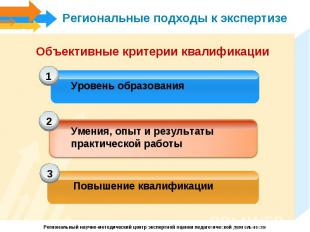 Региональные подходы к экспертизеОбъективные критерии квалификацииУровень образо
