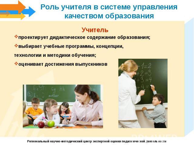 Роль учителя в системе управления качеством образованияУчитель проектирует дидактическое содержание образования; выбирает учебные программы, концепции, технологии и методики обучения;оценивает достижения выпускников