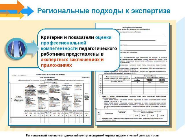Региональные подходы к экспертизеКритерии и показатели оценки профессиональной компетентности педагогического работника представлены в экспертных заключениях и приложениях