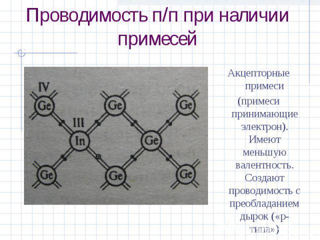 Проводимость п/п при наличии примесейАкцепторные примеси(примеси принимающие электрон). Имеют меньшую валентность. Создают проводимость с преобладанием дырок («p-типа»)
