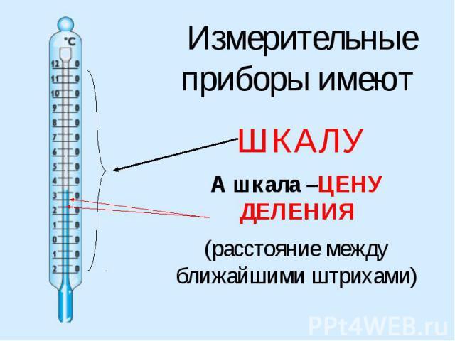 Измерительные приборы имеют ШКАЛУА шкала –ЦЕНУ ДЕЛЕНИЯ(расстояние между ближайшими штрихами)