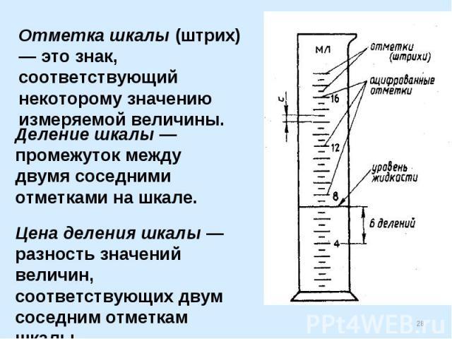 Отметка шкалы (штрих) — это знак, соответствующий некоторому значению измеряемой величины.Деление шкалы — промежуток между двумя соседними отметками на шкале.Цена деления шкалы — разность значений величин, соответствующих двум соседним отметкам шкалы.
