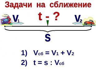 Задачи на сближение1) Vcб = V1 + V22) t = s : Vсб