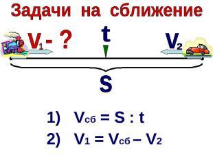 Задачи на сближение1) Vcб = S : t2) V1 = Vсб – V2