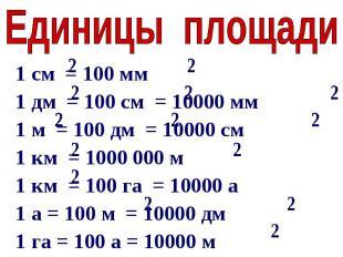 Единицы площади1 см = 100 мм1 дм = 100 см = 10000 мм1 м = 100 дм = 10000 см1 км
