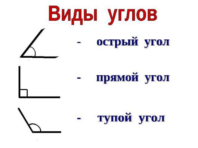 Виды углов- острый угол- прямой угол- тупой угол