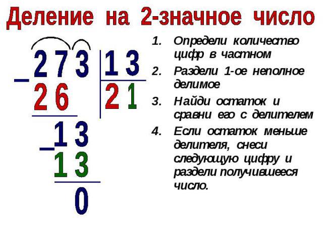 Деление на 2-значное числоОпредели количество цифр в частномРаздели 1-ое неполное делимоеНайди остаток и сравни его с делителемЕсли остаток меньше делителя, снеси следующую цифру и раздели получившееся число.