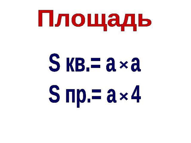 ПлощадьS кв.= а aS пр.= а 4