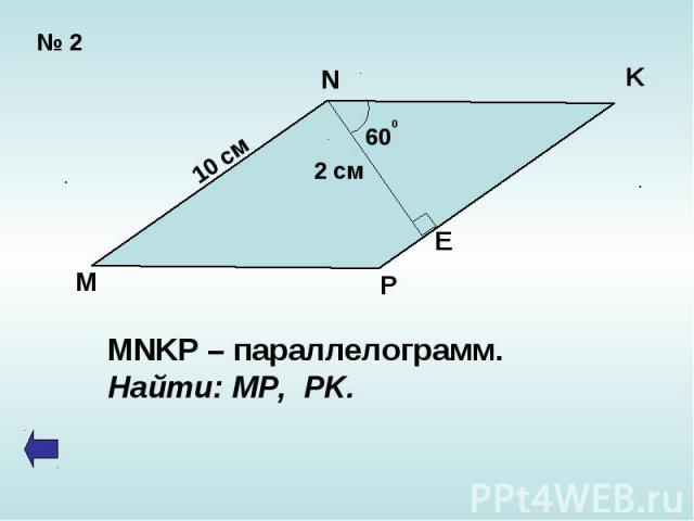 MNKP – параллелограмм.Найти: MP, PK.