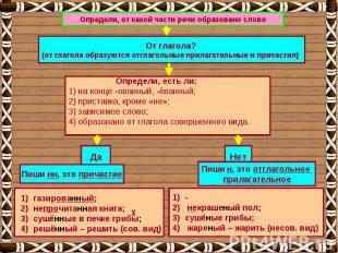 Определи, от какой части речи образовано слово От глагола?(от глагола образуются