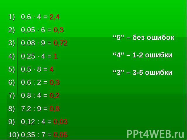 "0,6 · 4 = 2,4 0,05 · 6 = 0,30,08 · 9 = 0,720,25 · 4 = 10,5 · 8 = 40,6 : 2 = 0,3 0,8 : 4 = 0,27,2 : 9 = 0,80,12 : 4 = 0,030,35 : 7 = 0,05""5"" – без ошибок""4"" – 1-2 ошибки""3"" – 3-5 ошибки"
