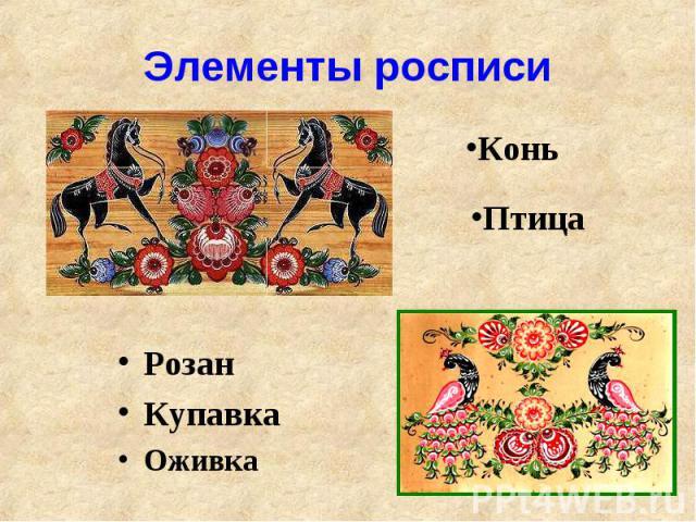 Элементы росписиРозанКупавкаОживка
