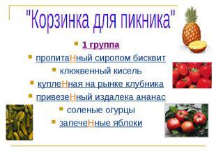"""""""Корзинка для пикника""""1 группапропитаНный сиропом бисквитклюквенный киселькуплеН"""