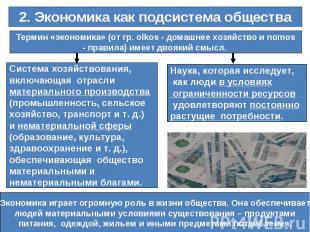 2. Экономика как подсистема обществаТермин «экономика» (от гр. oikos - домашнее