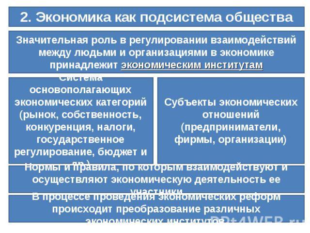 2. Экономика как подсистема обществаЗначительная роль в регулировании взаимодействий между людьми и организациями в экономике принадлежит экономическим институтамСистема основополагающих экономических категорий (рынок, собственность, конкуренция, на…