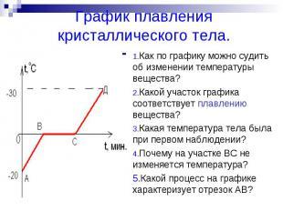 График плавления кристаллического тела.1.Как по графику можно судить об изменени