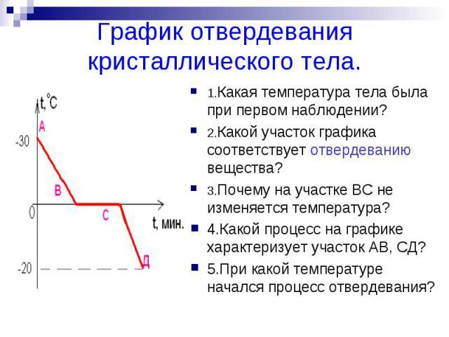 График отвердевания кристаллического тела.1.Какая температура тела была при первом наблюдении?2.Какой участок графика соответствует отвердеванию вещества?3.Почему на участке ВС не изменяется температура?4.Какой процесс на графике характеризует участ…