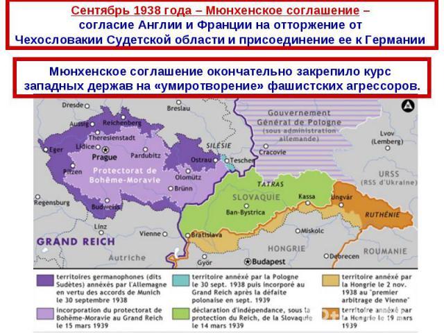 Сентябрь 1938 года – Мюнхенское соглашение – согласие Англии и Франции на отторжение от Чехословакии Судетской области и присоединение ее к Германии Мюнхенское соглашение окончательно закрепило курс западных держав на «умиротворение» фашистских агре…