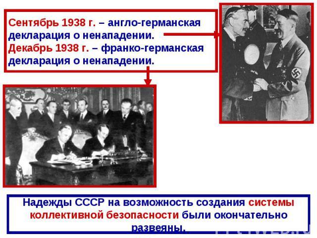 Сентябрь 1938 г. – англо-германская декларация о ненападении.Декабрь 1938 г. – франко-германская декларация о ненападении.Надежды СССР на возможность создания системыколлективной безопасности были окончательноразвеяны.