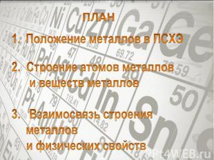 ПЛАНПоложение металлов в ПСХЭ2. Строение атомов металлов и веществ металлов3. Вз