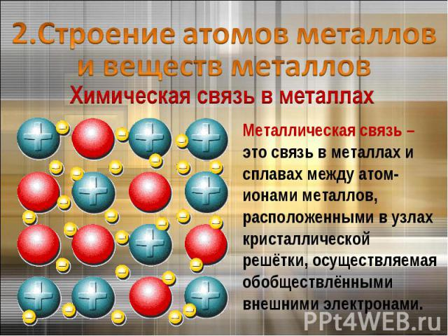 2.Строение атомов металлов и веществ металловМеталлическая связь – это связь в металлах и сплавах между атом-ионами металлов, расположенными в узлах кристаллической решётки, осуществляемая обобществлёнными внешними электронами.