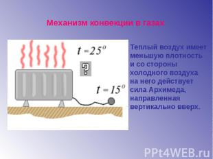 Механизм конвекции в газахТеплый воздух имеет меньшую плотность и со стороны хол