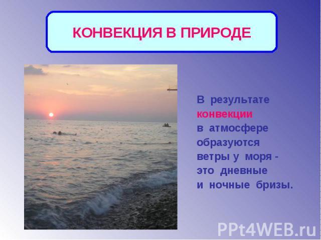 КОНВЕКЦИЯ В ПРИРОДЕВ результате конвекции в атмосфере образуются ветры у моря - это дневные и ночные бризы.