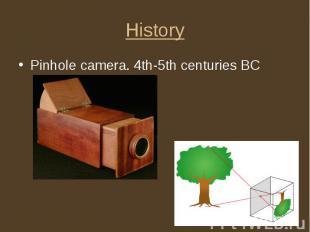History Pinhole camera. 4th-5th centuries BC