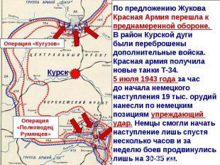 По предложению Жукова Красная Армия перешла к преднамеренной обороне. В район Ку