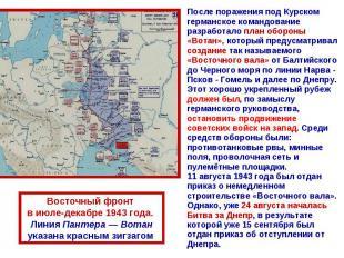 После поражения под Курском германское командование разработало план обороны «Во