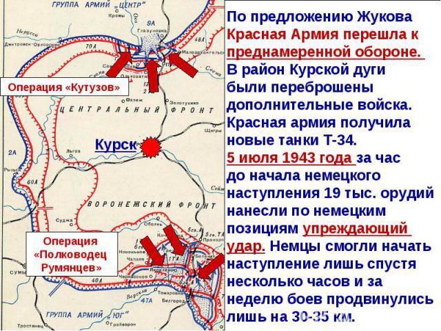 По предложению Жукова Красная Армия перешла к преднамеренной обороне. В район Курской дуги были переброшены дополнительные войска. Красная армия получила новые танки Т-34.5 июля 1943 года за час до начала немецкого наступления 19 тыс. орудий нанесли…