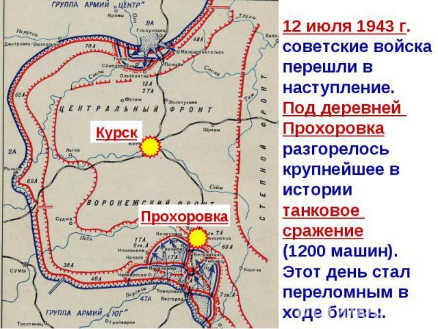 12 июля 1943 г. советские войска перешли в наступление. Под деревней Прохоровка разгорелось крупнейшее в истории танковое сражение (1200 машин). Этот день стал переломным в ходе битвы.